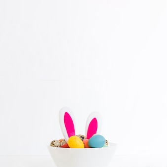 Bunny ears with eggs in bowl