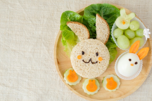 Bunny rabbit easter lunch plate, fun food art for kids