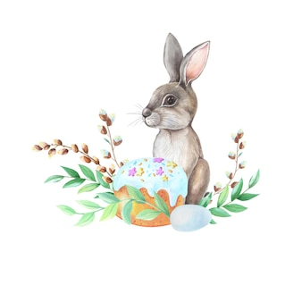 Bunny with flowers and plantes watercolor drawing over white background.