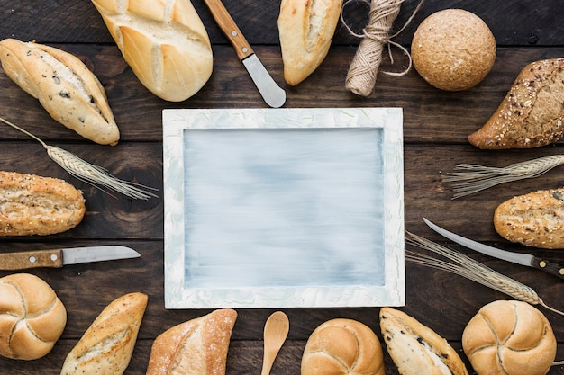 Buns and knives around frame