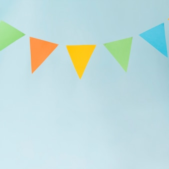 Bunting on blue background