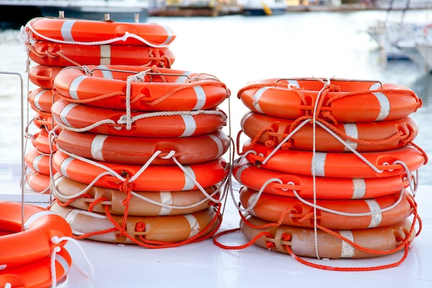 Buoys round lifesaver stacked for boat safety