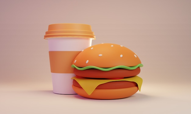 Бургер и кофейная чашка 3d-рендеринга