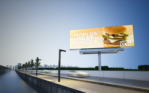Burger billboard on highway 3d rendering mockup