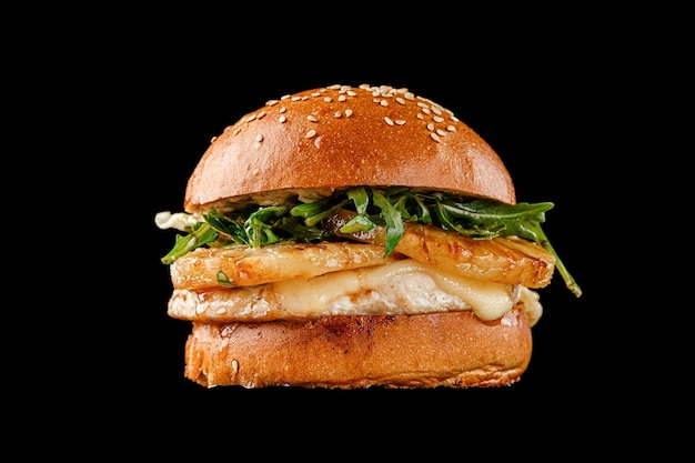 Burger on a black background for the menu