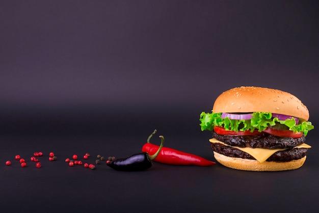 Burger on black