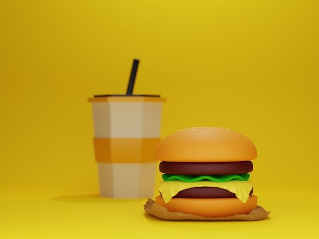 Burger and drink cup model with yellow background in 3d design