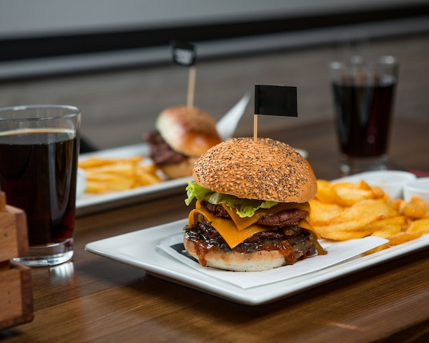 Burger menu for two person with soft drinks