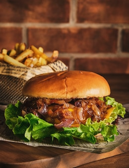 Burger with beef and caramelized onions