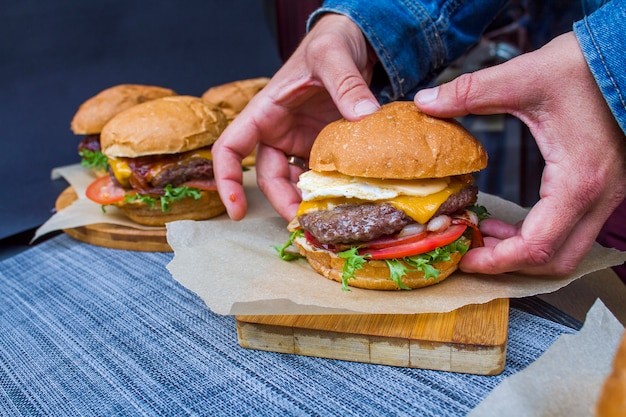 Burger with beef and vegetables