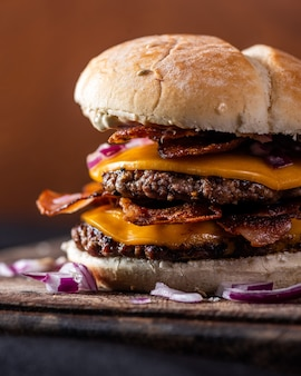 Burger with cheese and bacon