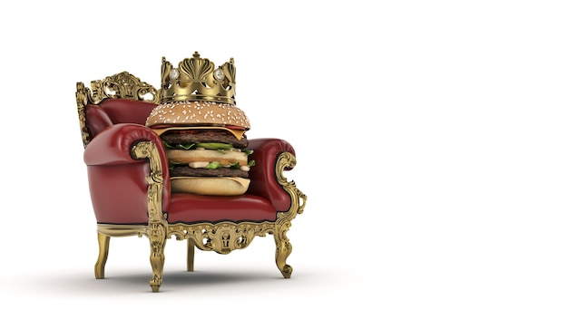 Burger with crown 3d rendering
