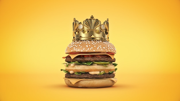 Burger with crown isolated 3d rendering