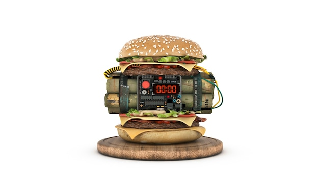 Burger with explosive 3d rendering