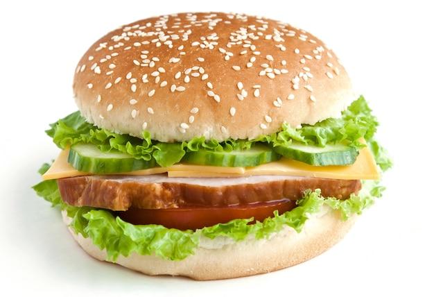 Бургер с мясом и овощами
