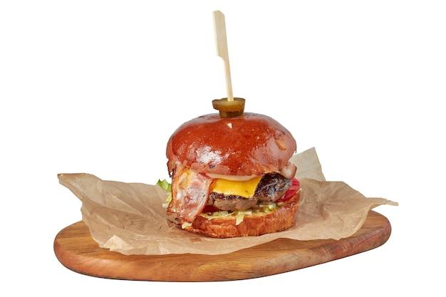 肉、レストランの料理、イメージ分離のハンバーガー