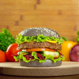 Burgers on wooden background