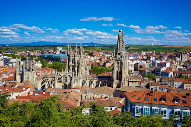 Burgos aerial view skyline with cathedral in spain