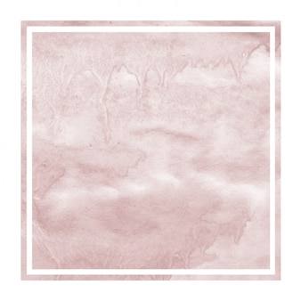 Burgundi hand drawn watercolor square frame background texture with stains