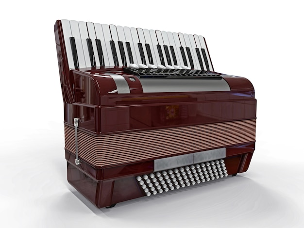 Burgundy accordion on a white isolated surface