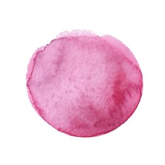 Бордовый круг нарисован изолированными акварельными красками. акварель бордовый.