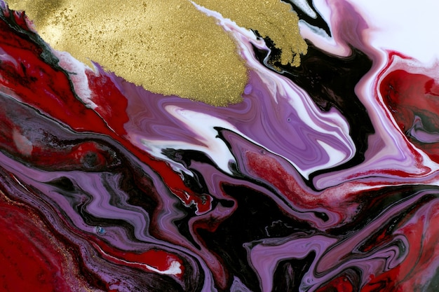 Burgundy mixed ink texture abstract marble pattern imitation with gold dust