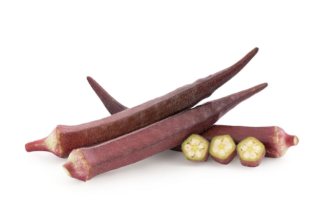 Burgundy okra or okra isolated on white background with clipping path.