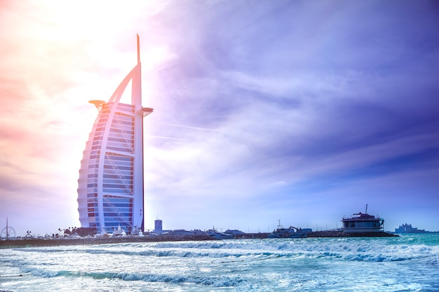 Burj al arab hotel from the jumeirah beach