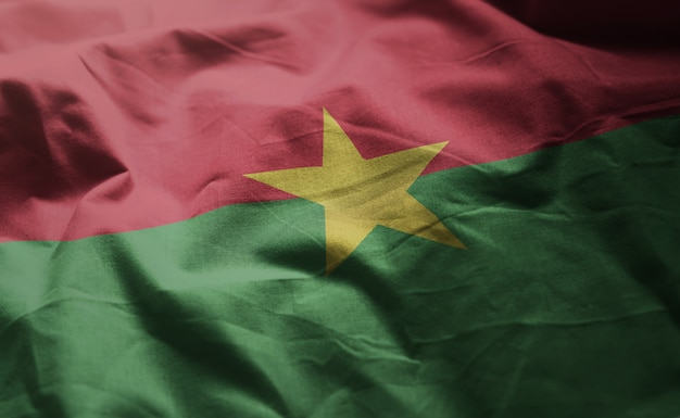 Burkina faso flag rumpled close up