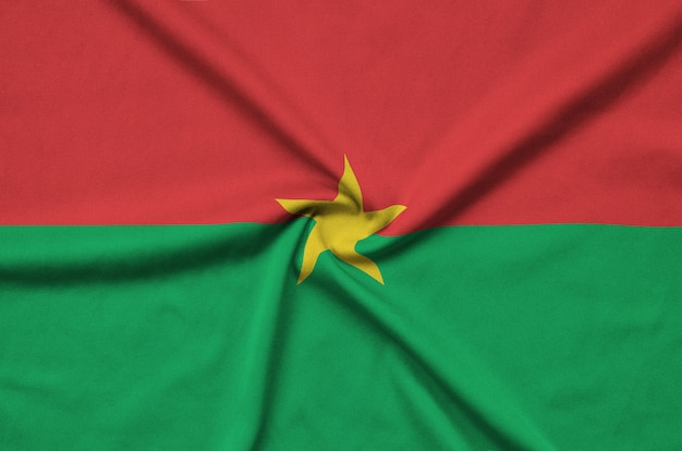 Burkina faso flag with many folds.