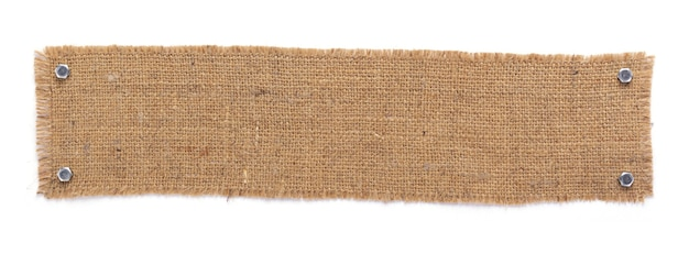 Burlap hessian sacking texture isolated at white background