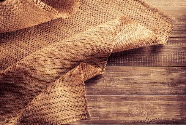Burlap hessian sacking on wooden