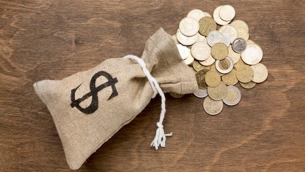 Burlap sack full of coins