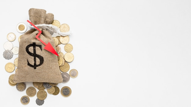Burlap sack of money economy crisis