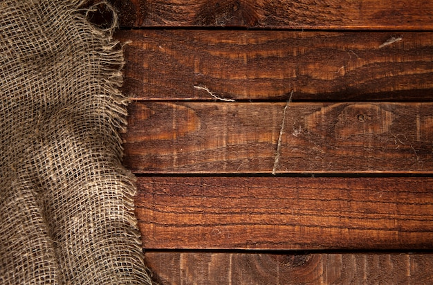 Burlap texture on wooden table