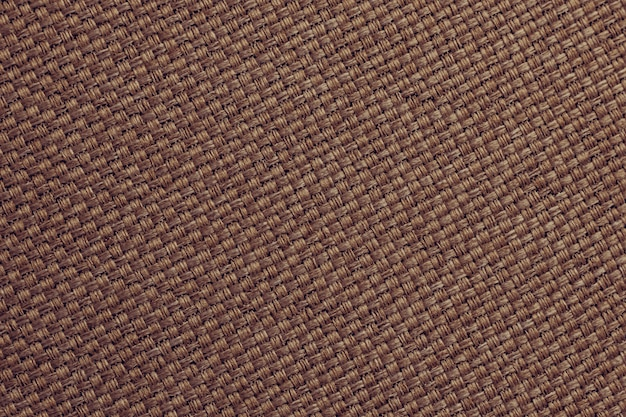 Burlap wallpaper, natural dark brown textile, fiber surface. sackcloth texture, background.