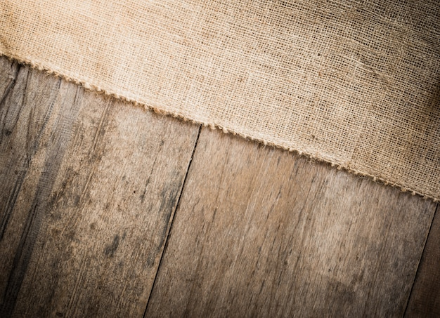 Burlap and wooden texture background