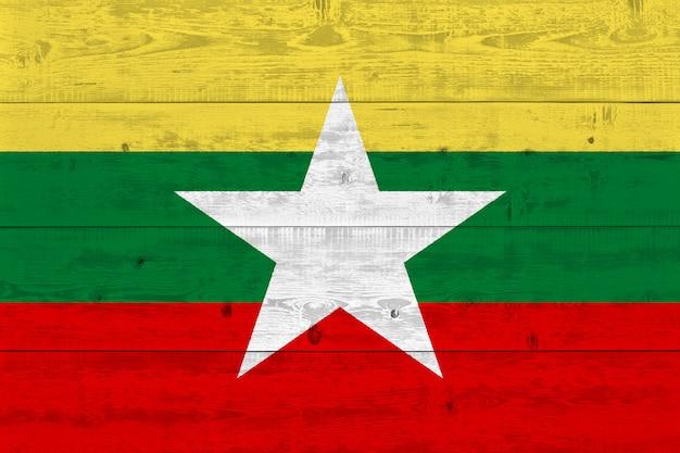 Burma flag painted on old wood plank
