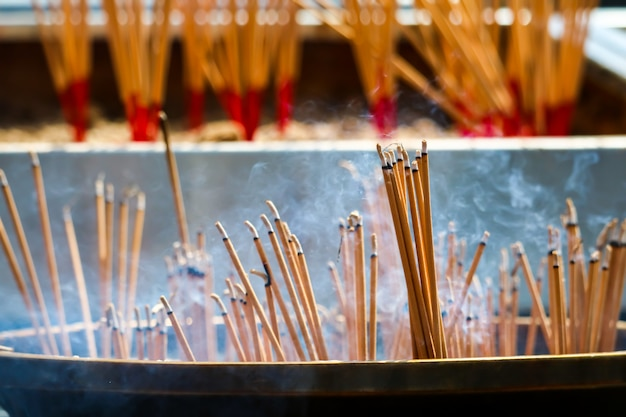 Burn incense stick are religious beliefs that the disciples show worship to buddha