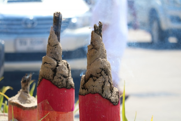 Burn incense stick are religious beliefs that disciples show worship in chinese tradition