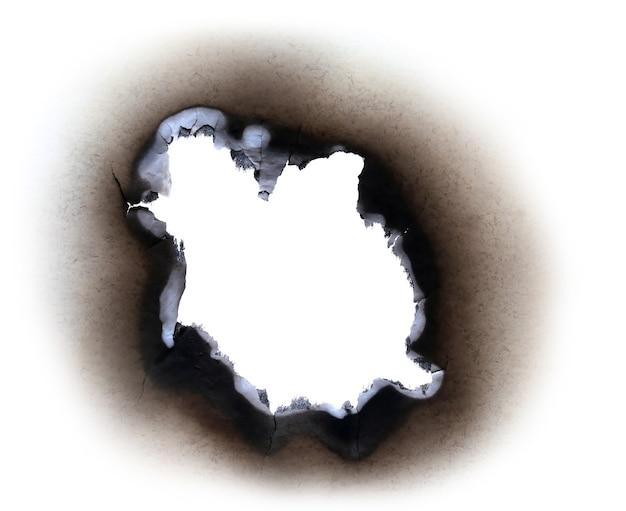 Burn paper over white background
