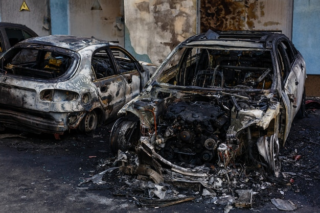Burned cars in the street