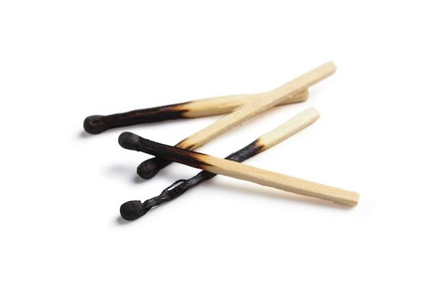 Burned matches isolated