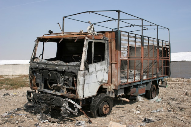 Burned truck abandoned, truck destroyed by fire