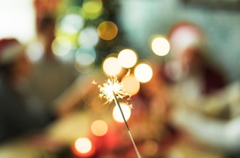 Burning Bengal light on blurred background
