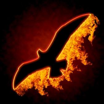 黒の背景に燃える鳥のシルエット