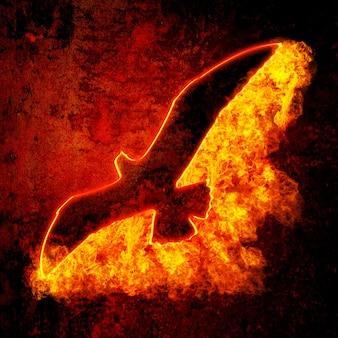 グランジ背景に燃える鳥のシルエット