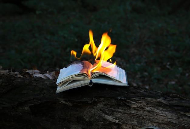 Горящая книга в огне на открытом воздухе. люди не любят читать. интеллектуальные проблемы.