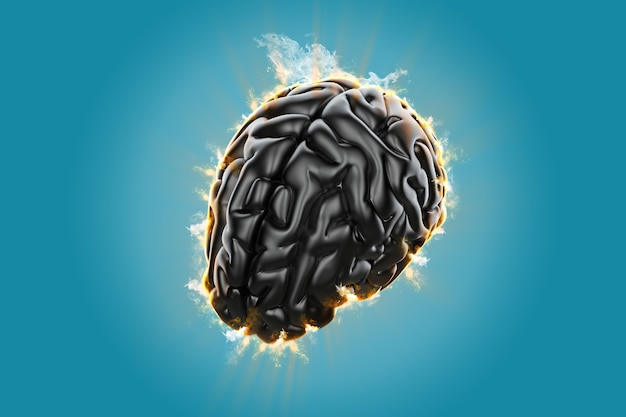 Burning brain. creative concept of the human brain