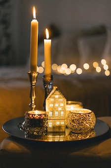 Burning candles in living room